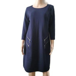 Nina Leonard Women's 3/4 Sleeve Navy A-Line Dress